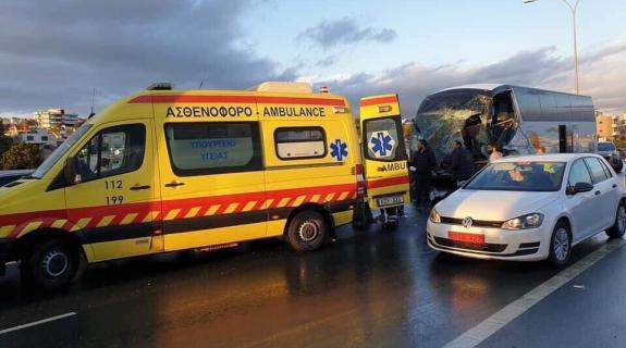 Από σχολική εκδρομή στη Λευκωσία επέστρεφε το λεωφορείο που ενεπλάκη σε ατύχημα